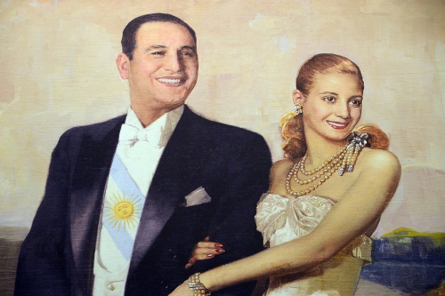 Peron and Eva Duarte Peron painted by Numa Ayrinhac close up Casa Rosado Buenos Aires.jpg